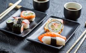Обои палочки, суши, роллы, японская кухня, соевый соус