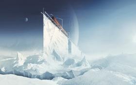 Обои холод, лед, планеты, поезд, арт, льдины, раскол