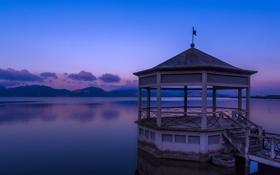 Обои lake, dawn, pier