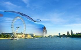 Обои небо, облака, пейзаж, лондон, автомобиль, темза, колесо обзора