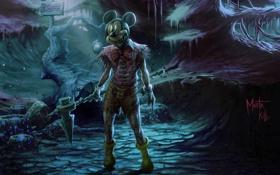 Обои лес, ночь, кровь, мышь, Disney, Mickey Mouse
