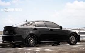 Обои небо, облака, чёрный, Lexus, парковка, black, лексус