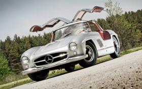 Обои купе, двери, серебристый, mercedes-benz, мерседес, красивая машина, 300sl