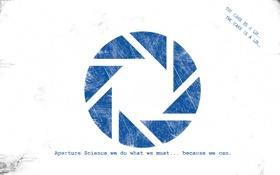Обои надпись, логотип, Portal, aperture science, компания, минимализм