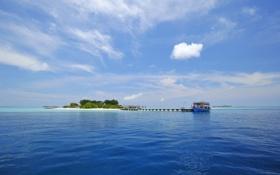 Обои море, пальмы, океан, лодка, остров, мальдивы