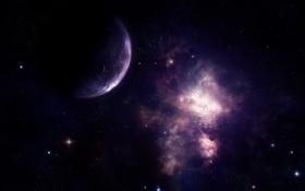 Обои галактика, планета, туманность