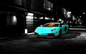 Обои дорога, car, авто, ночь, город, Lamborghini, Машина