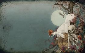 Обои цветы, дерево, луна, череп, скелет, кимоно, mecchori