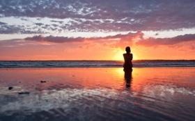 Обои море, девушка, закат