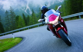 Обои дорога, красный, мотоцикл, хонда