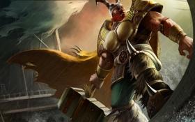 Обои море, брызги, молот, арт, рога, шлем, Arena of Heroes