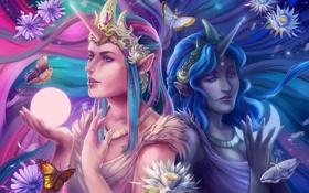 Картинка украшения, бабочки, цветы, девушки, фэнтези, арт, рог