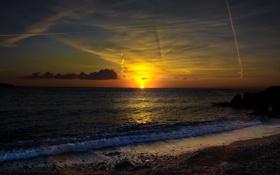 Картинка море, закат, побережье, Франция, вечер, прибой