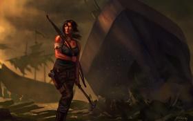 Обои девушка, пистолет, корабль, луг, tomb raider, крофт, лара
