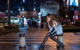 Картинка лицо, город, стиль, вечер, азиатка