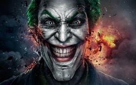 Обои лицо, улыбка, оскал, мужчина, joker, грим, Gods Among Us