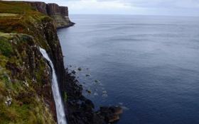 Картинка скала, озеро, побережье, водопад, Шотландия, Scotland, Isle of Skye