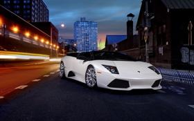 Обои ночь, улица, supercar, Lamborghini Murcielago, ламборгини, автообои, LP640 Roadster