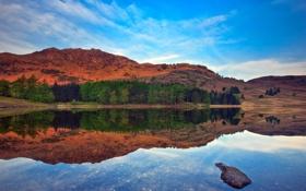 Обои деревья, горы, природа, озеро, отражение
