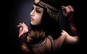 Картинка девушка, фон, стрелки, стрижка, макияж, арт, черные волосы