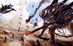 Обои рисунок, планета, существо, арт, битва, by Young Wolf, This is WAR