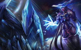 Картинка девушка, камни, рука, арт, кристаллы, League of Legends, Lissandra