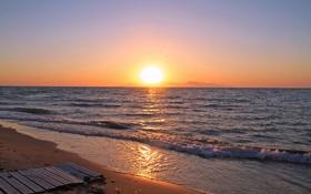 Обои песок, море, волны, небо, солнце, закат, берег
