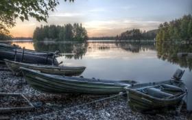Обои Boats, landscape, hdr, Sunset, Finland