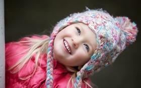 Картинка глаза, взгляд, дети, улыбка, фон, розовый, обои
