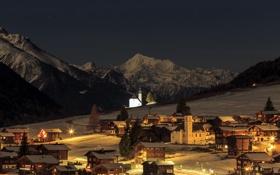 Картинка зима, снег, горы, ночь, огни, дома, Швейцария