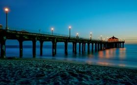 Картинка песок, море, небо, огни, берег, вечер, фонари