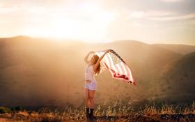 Картинка девушка, настроение, флаг