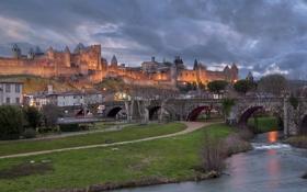 Обои France, briges, castels, Carcassonne.