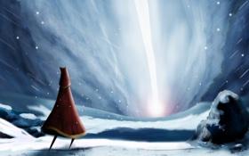 Картинка арт, снег, свет, journey