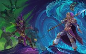 Обои diablo, warcraft, Witch Doctor, Jaina Proudmoore, Heroes of the Storm, Nazeebo