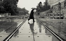 Обои отражение, зонтик, железная дорога, переход, мужчина, пальто, линии электропередачи