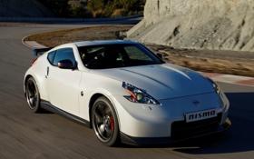 Обои авто, скорость, Nissan, white, 370Z, Nismo