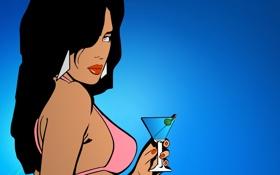 Обои сити, city, girl, auto, grand, martini, gta