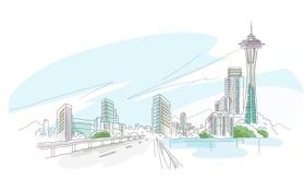 Обои белый фон, векторный, рисованный город