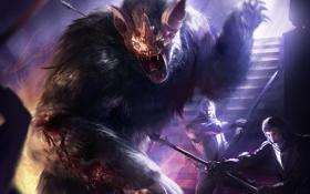 Обои оружие, люди, кровь, монстр, арт, битва, Berserk