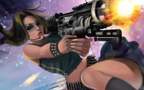 Обои девушка, оружие, арт, очки, стрельба