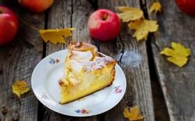Обои кусок, пирог, яблоки