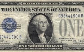 Обои silver, blue, Dollar, Washington, series, united states, one