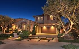Картинка деревья, ночь, огни, дом, тротуар, особняк, газоны