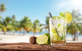 Обои море, пляж, лайм, напиток, MOHITO