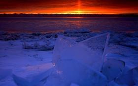 Обои лед, вода, закат