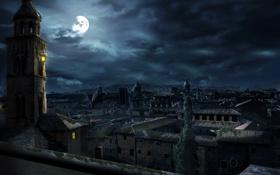 Обои ночь, город, луна, assassins, Assasins Creed