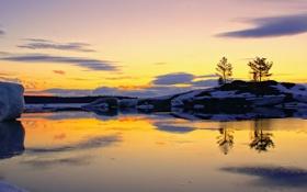 Картинка зима, небо, закат, река