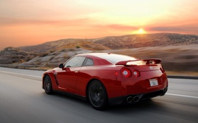 Обои car, авто, красный, nissan, red, road, ниссан