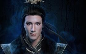 Обои азиат, фэнтези, ухмылка, мех, Hu Qin, украшения, парень